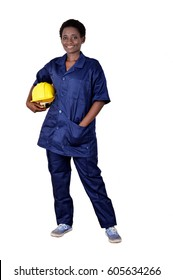 Young smiling  construction worker holding his helmet on a white background