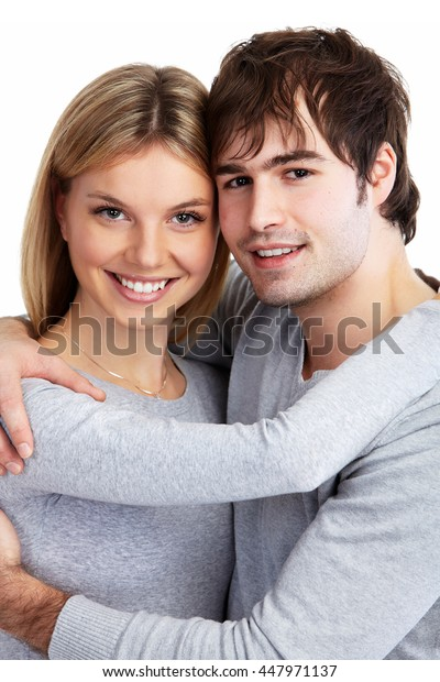Young smiling couple.