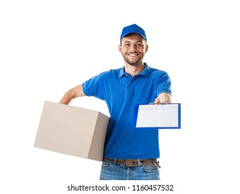 Young smiling courier delivering parcel boxes and stretch blank to the customer, isolated on white background. Delivery service concept