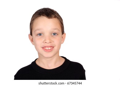Young smiling eight year old boy portrait on a white background
