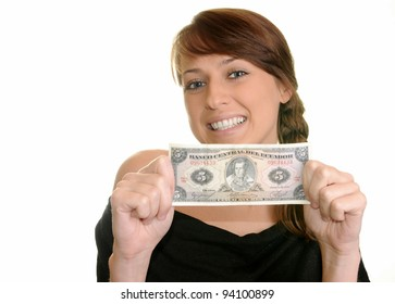 Young smiling girl with pocket money