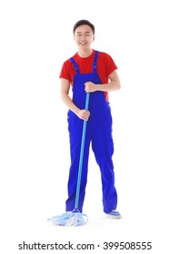 Young smiling male cleaner isolated on white