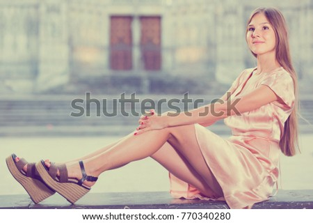 young smiling swiss girl romantic dress stock photo edit now