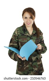 Young smiling teeange girl wearing military jacket and holding plastic folder isolated