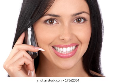 Young smiling woman calling by  phone. Over white background