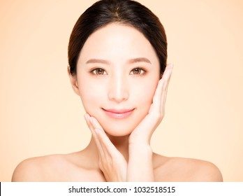 young smiling woman with clean fresh skin