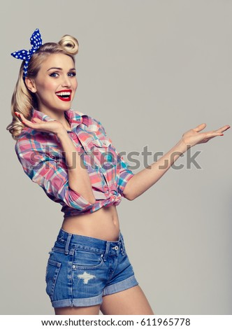 Young Smiling Woman Dressed Pinup Style Stock Photo (Edit Now ... 780bf104b