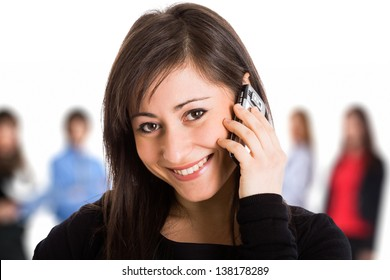 Young smiling woman getting in touch with friends