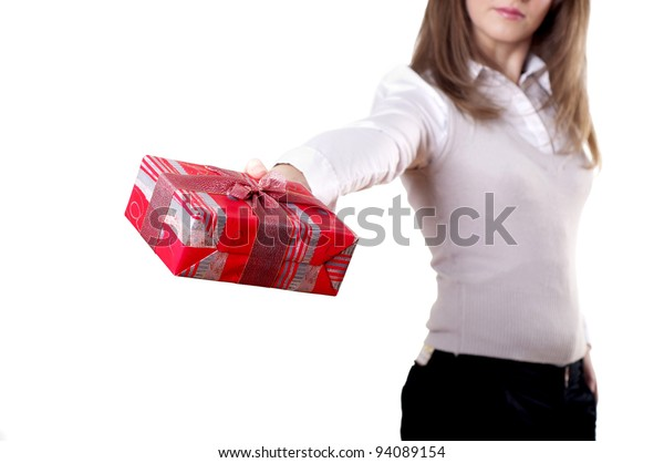 Young smiling woman holding gift - Red box with a bow
