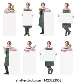 young smiling woman professional gardener or florist holding the banner with empty copy space isolated on white background. advertisement blank board. gardening service and business concept. collage