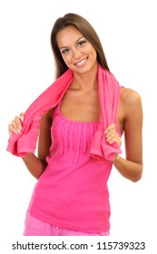 young smiling woman with towel isolated on white