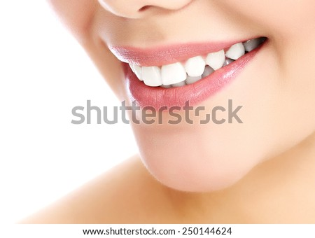 Young smiling woman white