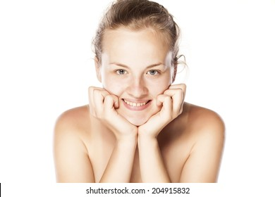 young smiling woman without make up