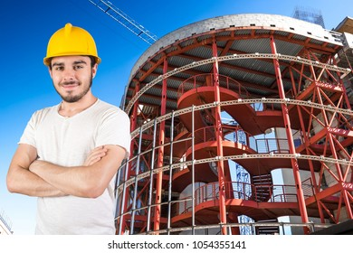 an young smiling worker in jobsite