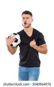 Young soccer fan with black shirt ball in hands on white background