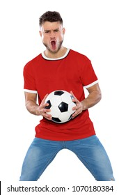 Young soccer fan with red shirt, ball in hands on screaming with emotion white background