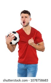 Young soccer fan with red shirt ball in hands on white background