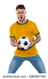 Young soccer fan with white shirt, ball in hands on white background