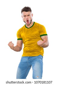 Young soccer fan with yellow and green shirt on white background