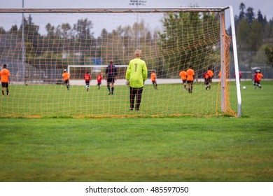 Young soccer goalie in the net with game in action