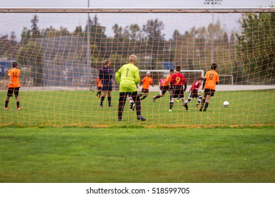 Young soccer goalie in the net ready to make a save