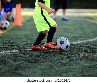 young soccer on training