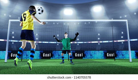 Young soccer player is kicking ball while goalkeeper defends on a professional soccer stadium. Stadium and crowd are made in 3D. Players in unbranded cloth.