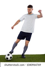 Young soccer player on grass with white shirt and ball in hands on white background