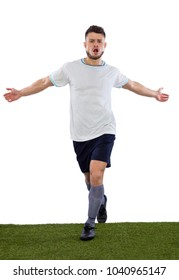 Young soccer player on grass with white shirt  on white background