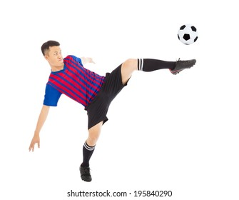 Young soccer player Steals the flying ball