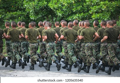 Young solders training