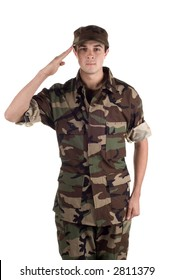 Young soldier in fatigues