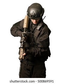 Young Soldier with a M4 isolated on white background