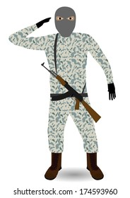 Young soldier with mask and rifle. Raster illustration.
