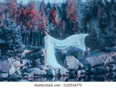 A young sorceress walks through a bridge of wild stones by the river, wearing a white, vintage, airy dress with a long flying raincoat and a train. The background is a fantastic nature and a lake