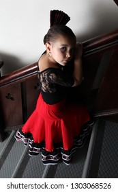 Young Spanish Flamenco dancer at the dance studio