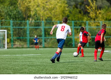 Young sport boys in red sportswear running and kicking a  ball on pitch. Soccer youth team plays football in summer. Activities for kids, training