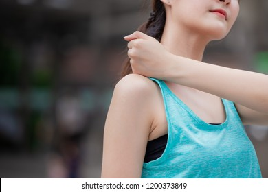 young sport healthy teen shoulder osteoarthritis pain rub massage after workout from office syndrome.