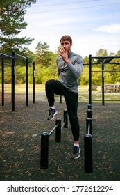 Young sports athlete exercise on muscles of the core and legs, stretching and gymnastics  Sport, workout, gym, exercising, jumping training and lifestyle concept.