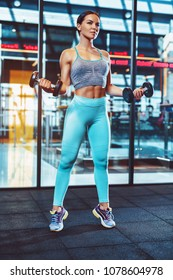 Young sports sexy woman standing with dumbbells in modern club interior on glass windows background