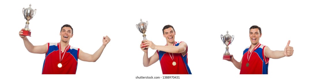 Young sportsman with cup isolated on white