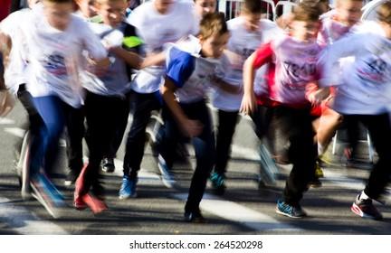 Young sportsmen running a cross