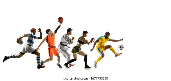 Young sportsmen running and jumping on white studio background. Concept of sport, movement, energy and dynamic, healthy lifestyle. Training, practicing in motion. Flyer. Basketball, football, rugby.