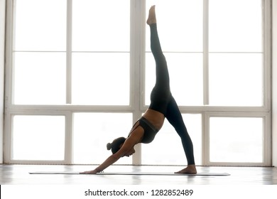 Young sporty attractive woman practicing yoga, doing one legged Downward facing dog exercise, adho mukha svanasana pose, working out, wearing sportswear, indoor full length, at yoga studio