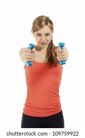 young sporty fitness woman train with dumbbells on white background