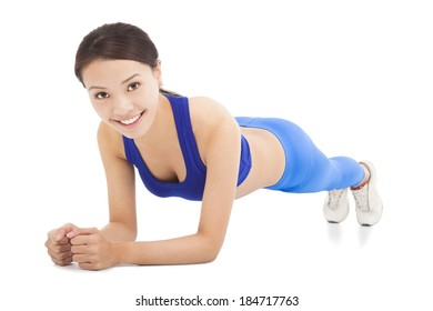 young sporty woman doing core exercise