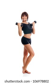 Young sporty woman with dumbbells isolated on white