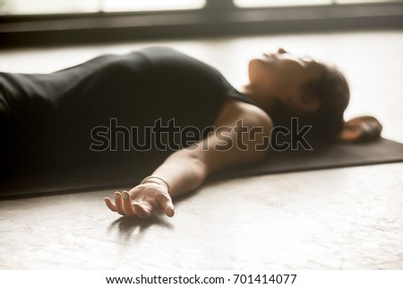 young sporty woman practicing yoga home stock photo edit