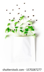 Young sprouts of vegetables and seeds in a white paper bag on a white background, copy space. Seeds and microgreen sprouts. Gardening and planting concept. Sale of seeds for planting.