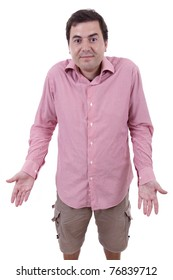 Young standing man with confused expression isolated on white background